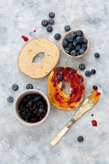 Bagels with cinnamon and blueberry, top view. pastry food.