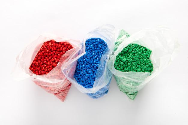 Bags of colorful plastic granules