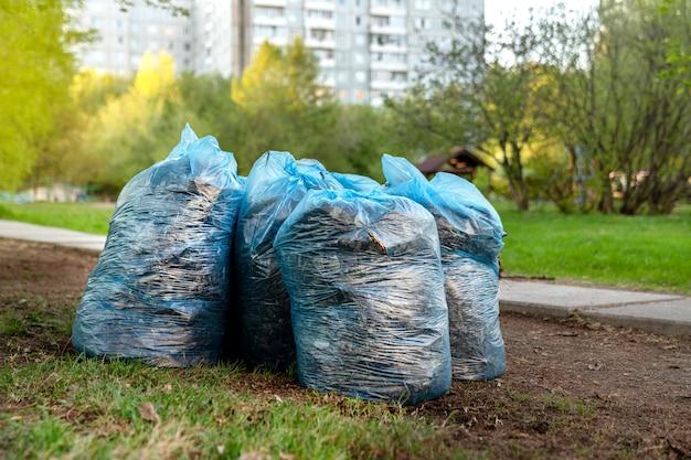 庭の緑の芝生の上にゴミ、葉、古い草の袋が立っています。通り、中庭、および周辺地域の春の大掃除