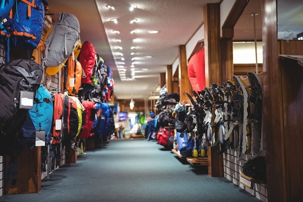 Bags on rack in store