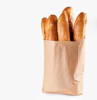 Baguette bread in paper bag