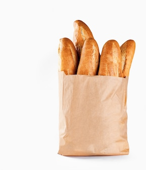 Baguette bread in paper bag
