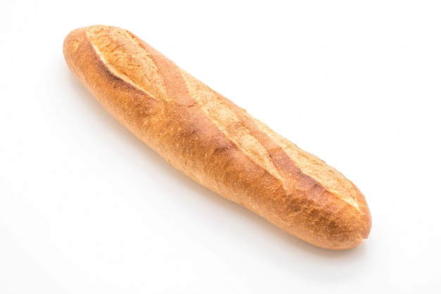 Baguette bread on white background