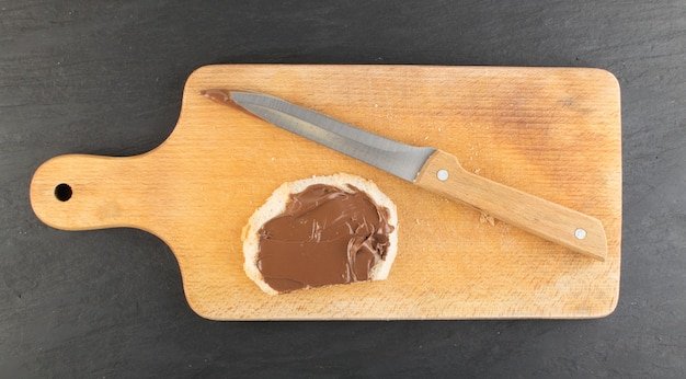 Baguette slice with chocolate butter top view
