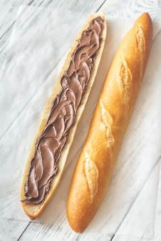 Baguette with chocolate cream