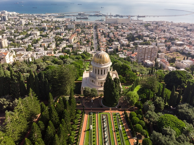 Baha'i gardens aerial view on bright day