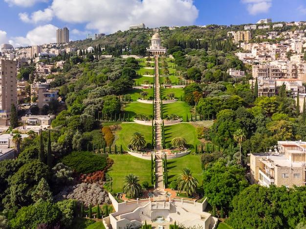 Baha'i gardens aerial view with blue sky