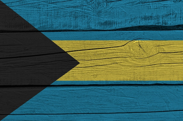 Bahamas flag painted on old wood plank