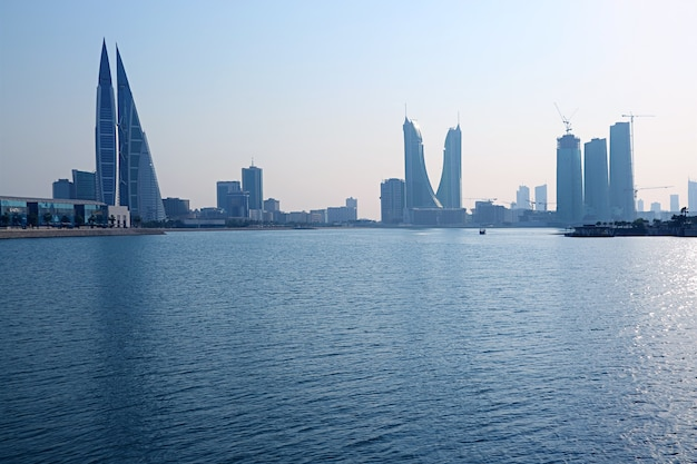 Bahrain financial harbor or bfh district with groups of iconic landmark, manama, bahrain