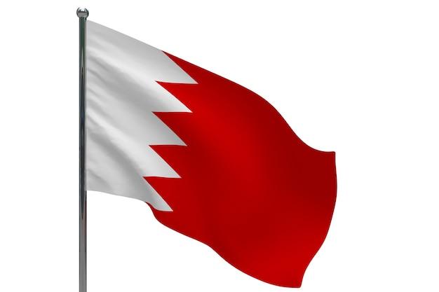 Флаг бахрейна на шесте. металлический флагшток. национальный флаг бахрейна 3d иллюстрация на белом