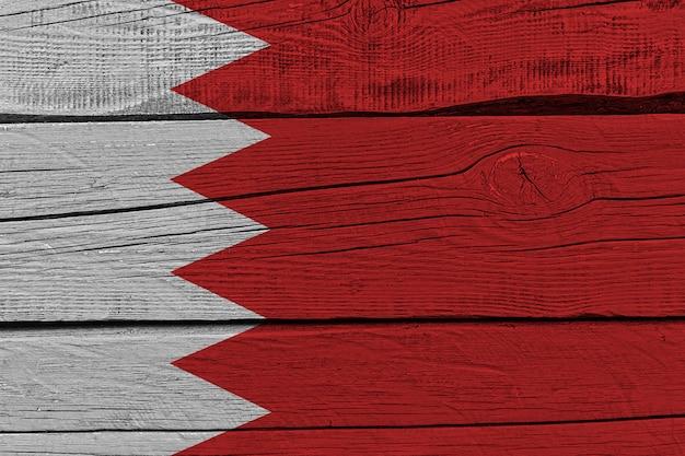 Bahrain flag painted on old wood plank
