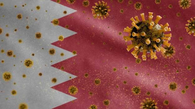 Bahrainis waving flag and coronavirus microscope virus