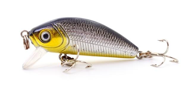 Приманка для рыбалки - воблер на белом фоне.
