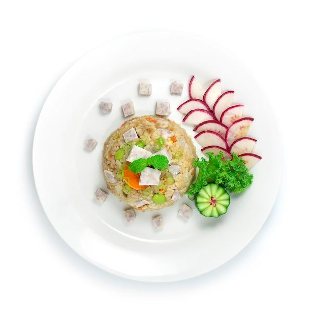 Выпекать рис с яичным желтком tarosalt и китайской едой, приготовленной из зеленой фасоли