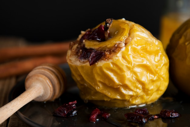 Baked apples stuffed with honey and dried fruits.