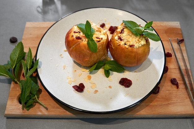 Baked apples with cottage cheese and with fragrant mint