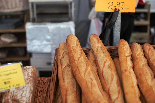 Baked baguettes in the basket with price
