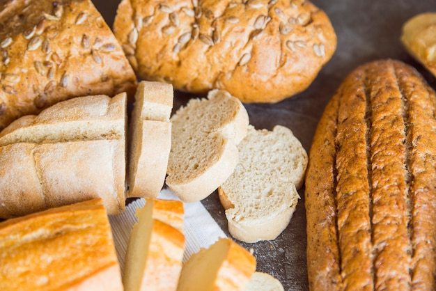 Baked bread assortment top view
