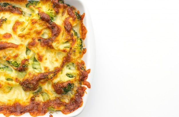 Baked cauliflower and broccoli gratin with cheese