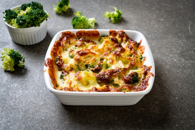 Baked cauliflower and broccoli with cheese