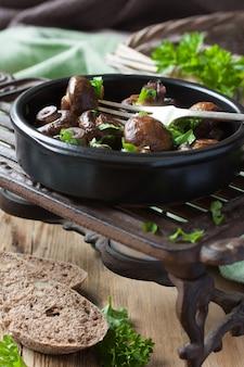 Baked champignons mushrooms