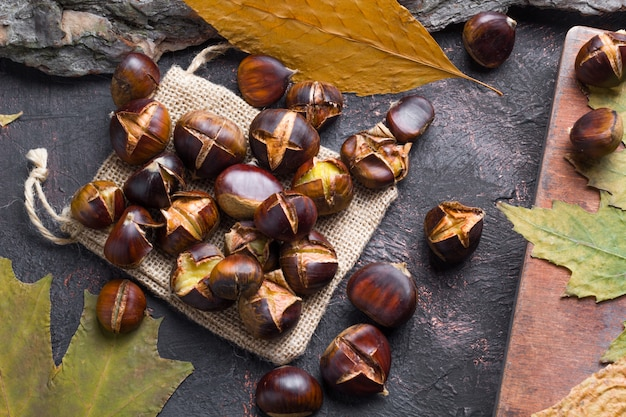 Baked chestnuts. autumn traditional food.