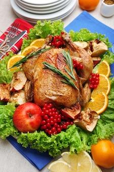 お祝いの夕食のための焼き鳥