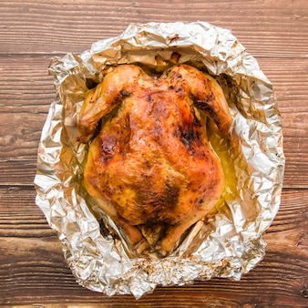 Baked chicken in foil