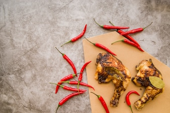 Baked chicken leg quarters with chili