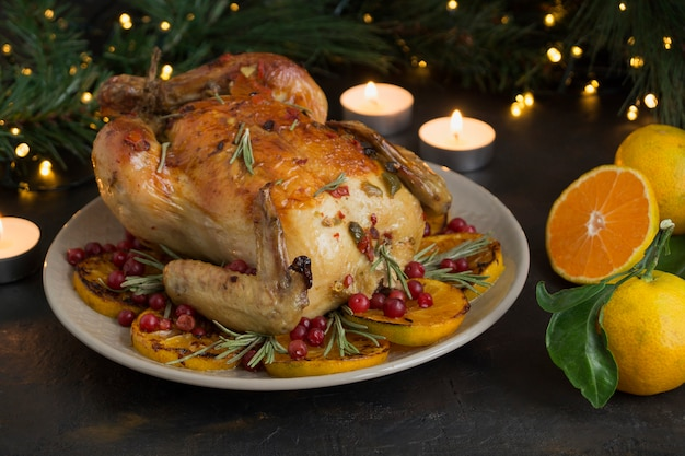 Baked chicken in the oven, festive dish,