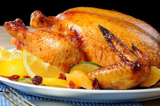 オレンジ、ライム、タンジェリン、クランベリーのスライスを添えた焼き鳥