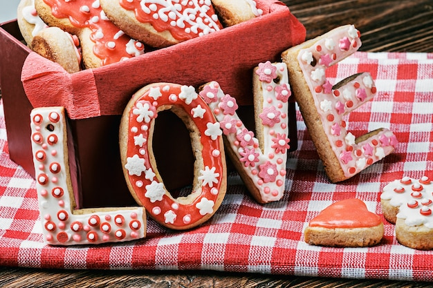 Baked cookies with the word love