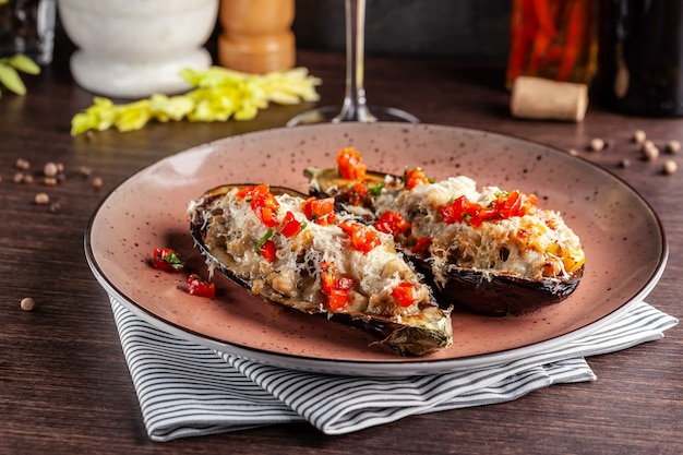 Baked eggplants with meat and vegetables.