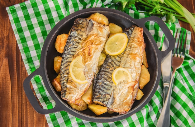 Baked fish mackerel and potatoes. selective focus.