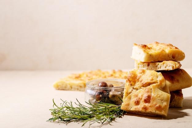 Baked focaccia bread