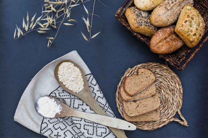 Baked food with spoon of oat and flour