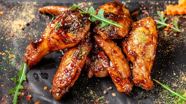Baked indian chicken wings and legs in honey mustard sauce.