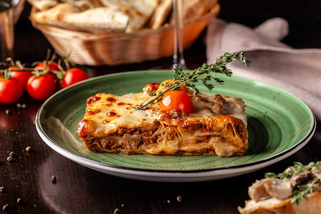 Baked lasagna with minced bolognese.