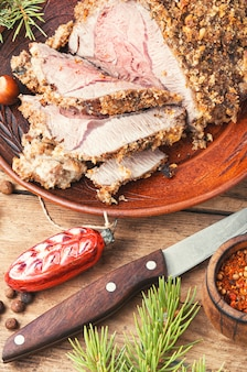 Baked meat for christmas