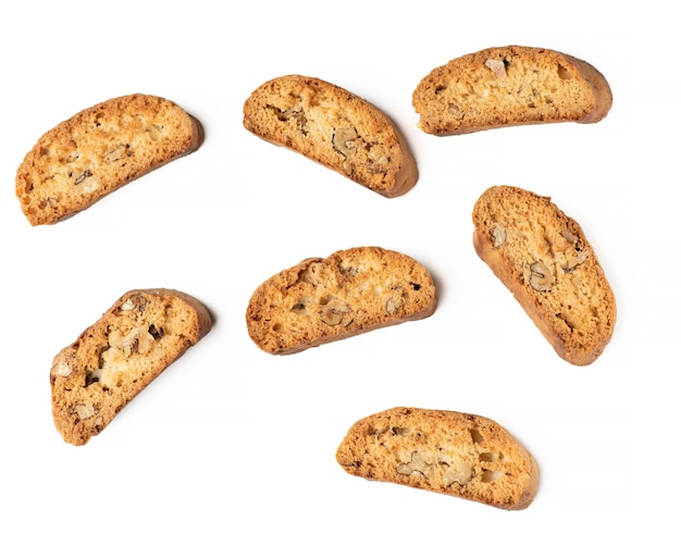 Baked piece italian almond biscotti, cantuccini cookies, traditional italian christmas, new year dry cookies. baking isolated on white background