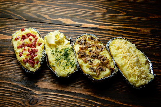 Baked potato in garnishes.