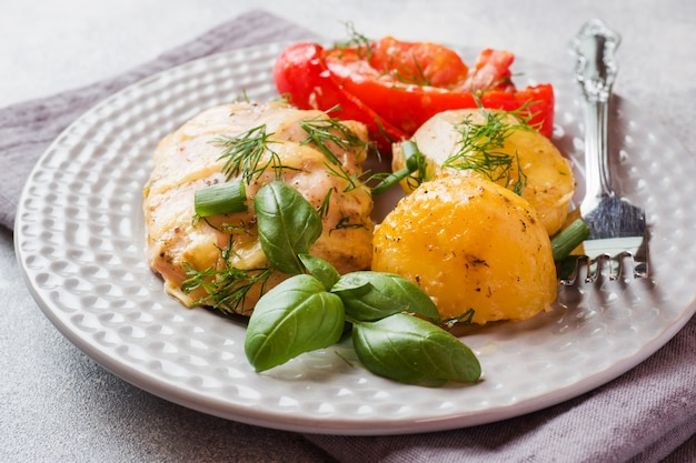 Baked potatoes with chicken and vegetables on a plate