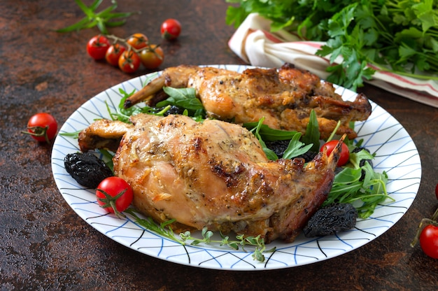 Baked rabbit with prunes
