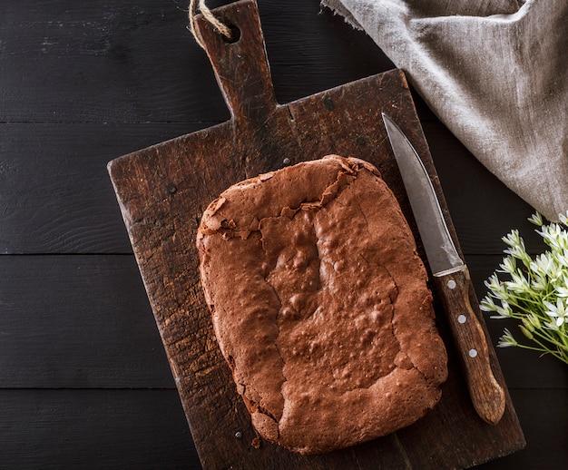 Baked rectangular chocolate brownie pie