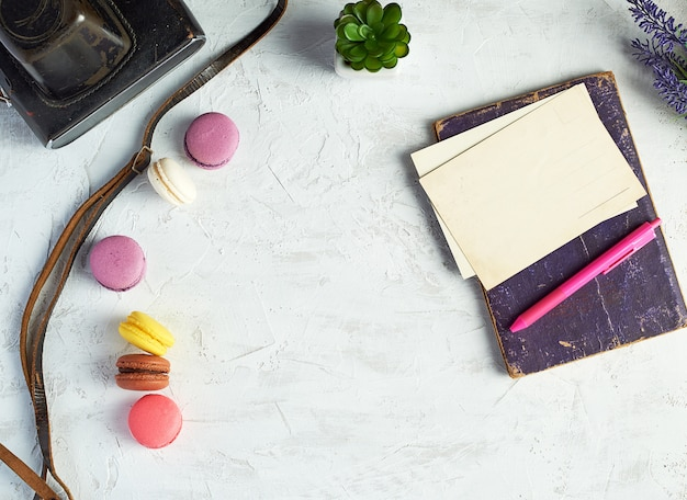 Baked round macarons, notebook, pen and plants in a pot on white background