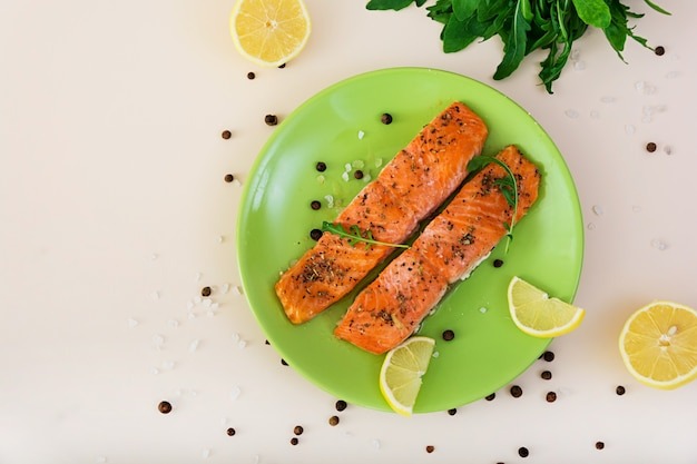 Baked salmon with spices.