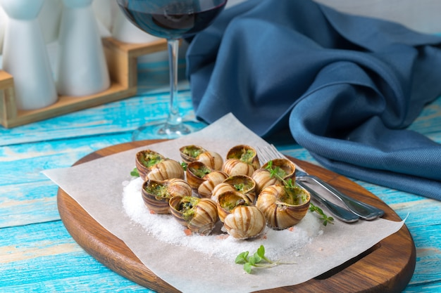 Baked snails with garlic butter and fresh herbs