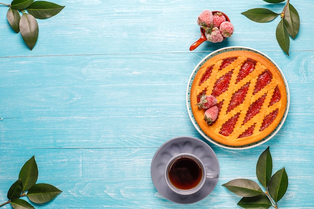 Baked strawberry jam pie cake sweet pastry top view