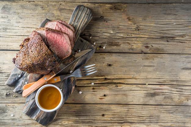 Baked tenderloin beef meat