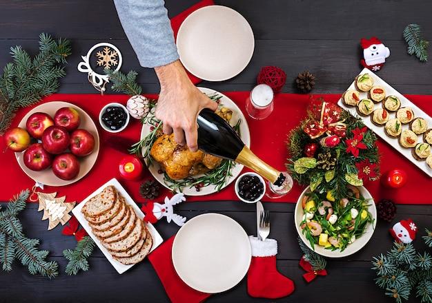 Baked turkey. christmas dinner.